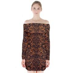 Damask2 Black Marble & Rusted Metal Long Sleeve Off Shoulder Dress