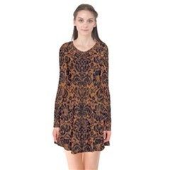 Damask2 Black Marble & Rusted Metal Flare Dress