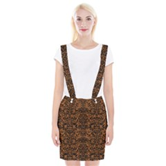 Damask2 Black Marble & Rusted Metal Braces Suspender Skirt