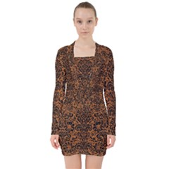 Damask2 Black Marble & Rusted Metal V Neck Bodycon Long Sleeve Dress