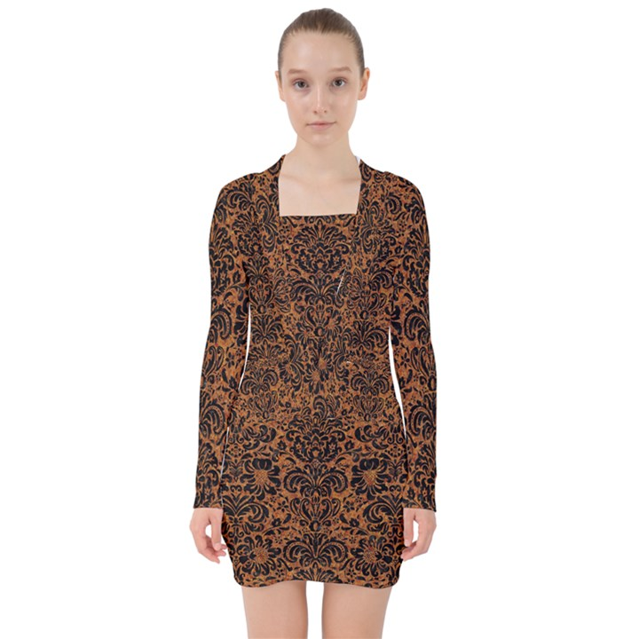DAMASK2 BLACK MARBLE & RUSTED METAL V-neck Bodycon Long Sleeve Dress