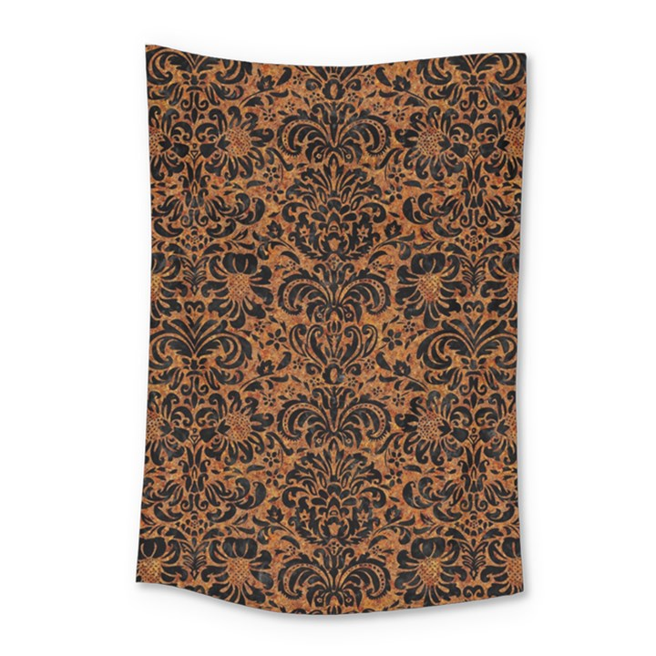 DAMASK2 BLACK MARBLE & RUSTED METAL Small Tapestry