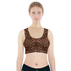 Damask2 Black Marble & Rusted Metal Sports Bra With Pocket