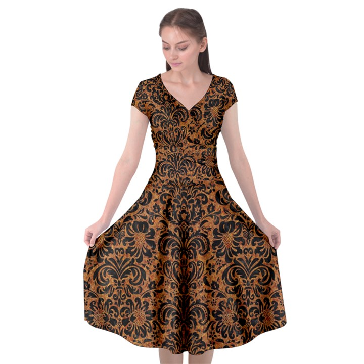 DAMASK2 BLACK MARBLE & RUSTED METAL Cap Sleeve Wrap Front Dress