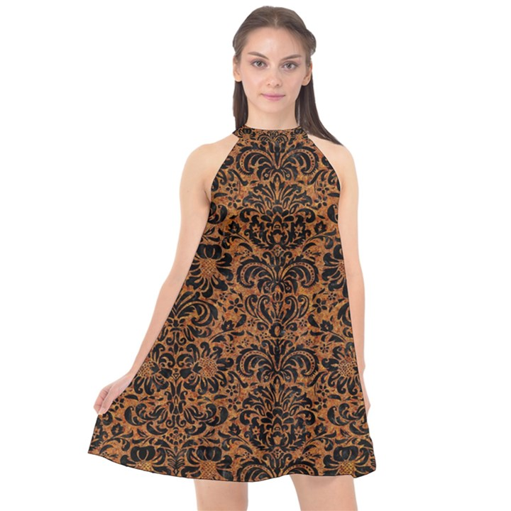 DAMASK2 BLACK MARBLE & RUSTED METAL Halter Neckline Chiffon Dress