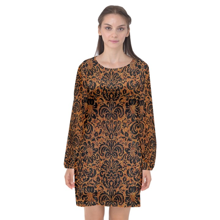 DAMASK2 BLACK MARBLE & RUSTED METAL Long Sleeve Chiffon Shift Dress