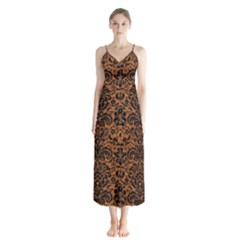 Damask2 Black Marble & Rusted Metal Button Up Chiffon Maxi Dress