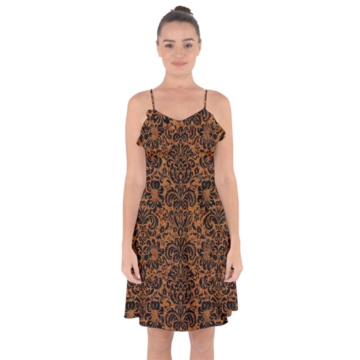 DAMASK2 BLACK MARBLE & RUSTED METAL Ruffle Detail Chiffon Dress
