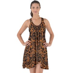 Damask2 Black Marble & Rusted Metal Show Some Back Chiffon Dress