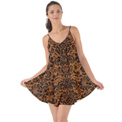 Damask2 Black Marble & Rusted Metal Love The Sun Cover Up