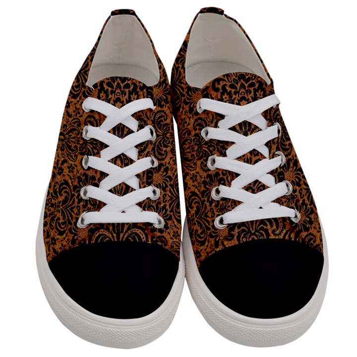 DAMASK2 BLACK MARBLE & RUSTED METAL Women s Low Top Canvas Sneakers