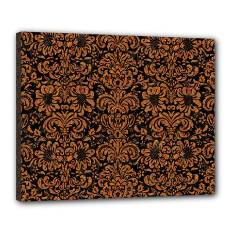 Damask2 Black Marble & Rusted Metal (r) Canvas 20  X 16