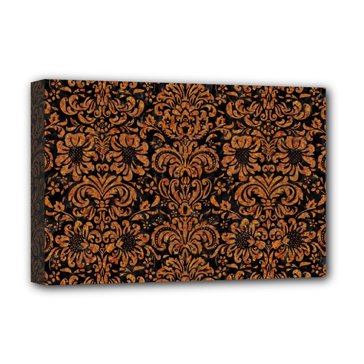 DAMASK2 BLACK MARBLE & RUSTED METAL (R) Deluxe Canvas 18  x 12