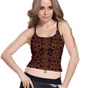 DAMASK2 BLACK MARBLE & RUSTED METAL (R) Spaghetti Strap Bra Top View1