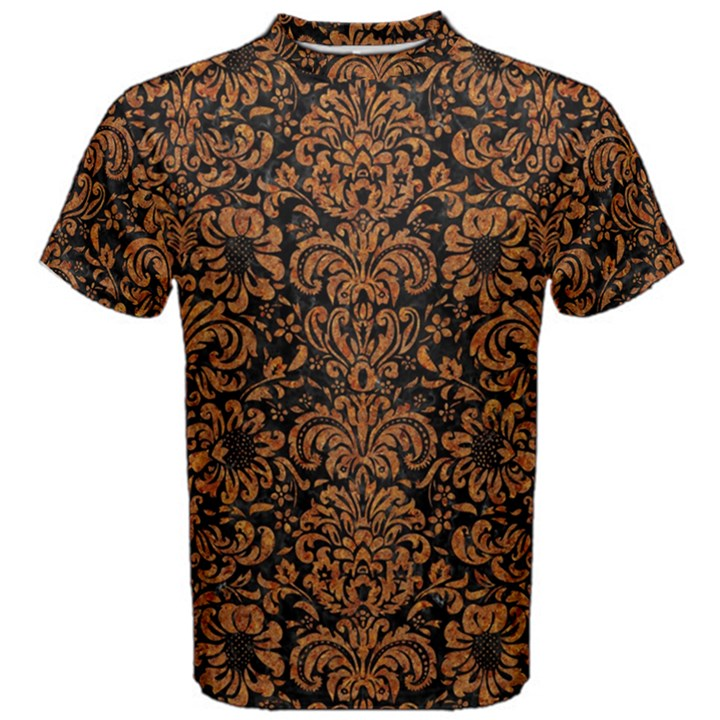 DAMASK2 BLACK MARBLE & RUSTED METAL (R) Men s Cotton Tee