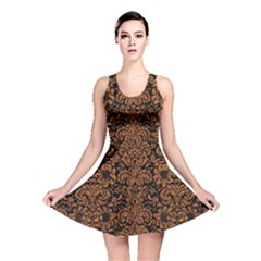 Damask2 Black Marble & Rusted Metal (r) Reversible Skater Dress