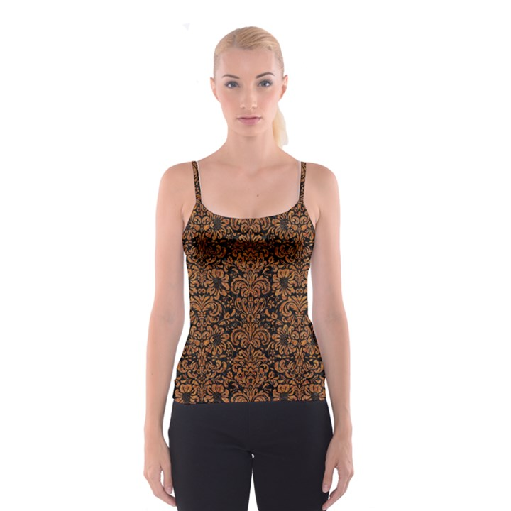 DAMASK2 BLACK MARBLE & RUSTED METAL (R) Spaghetti Strap Top