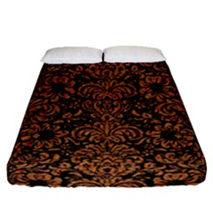 Damask2 Black Marble & Rusted Metal (r) Fitted Sheet (queen Size)