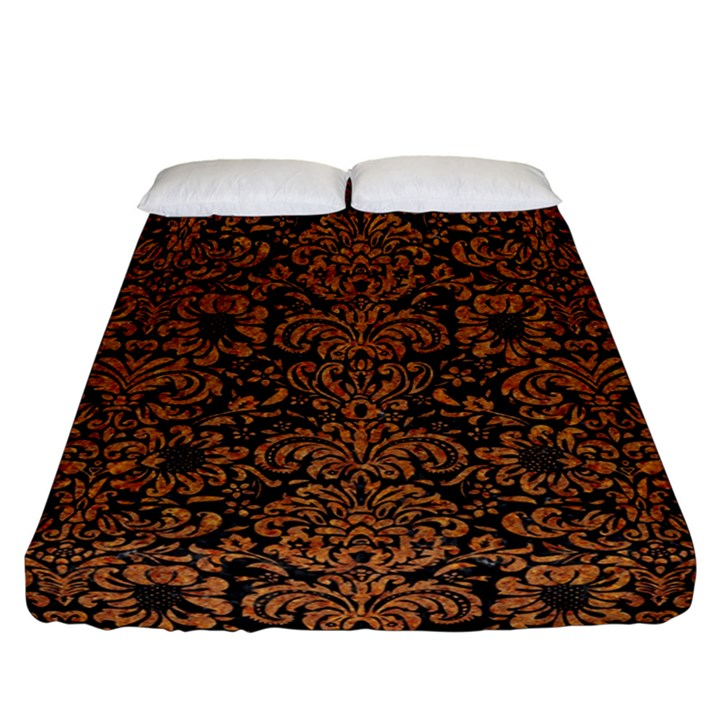 DAMASK2 BLACK MARBLE & RUSTED METAL (R) Fitted Sheet (California King Size)