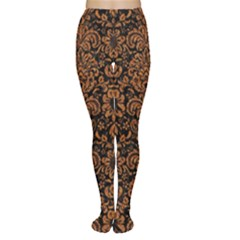 Damask2 Black Marble & Rusted Metal (r) Women s Tights
