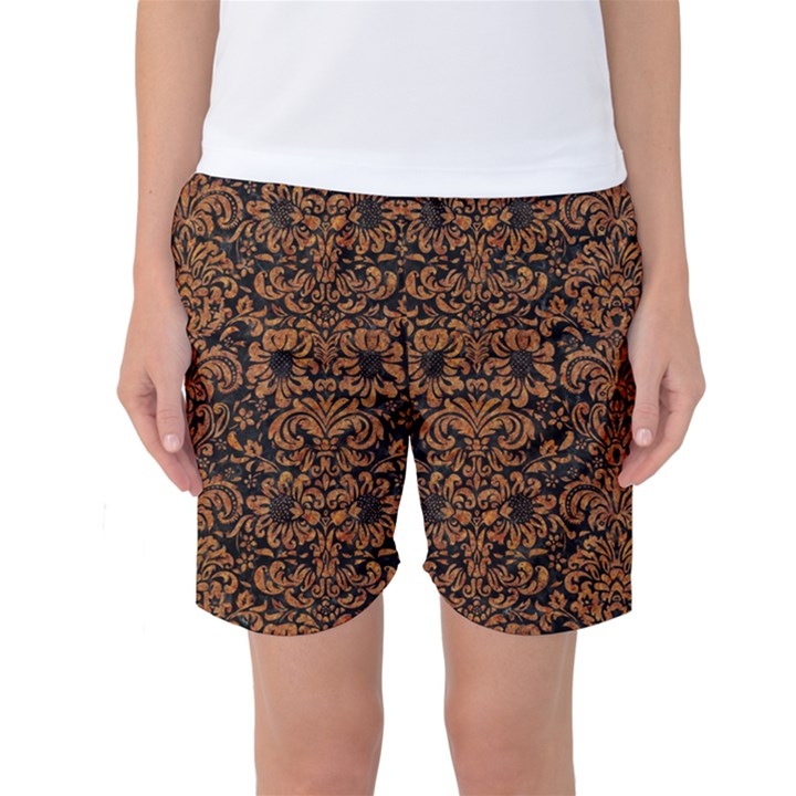 DAMASK2 BLACK MARBLE & RUSTED METAL (R) Women s Basketball Shorts