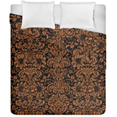 Damask2 Black Marble & Rusted Metal (r) Duvet Cover Double Side (california King Size)