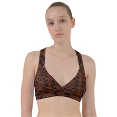 Damask2 Black Marble & Rusted Metal (r) Sweetheart Sports Bra