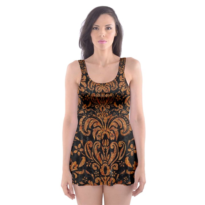 DAMASK2 BLACK MARBLE & RUSTED METAL (R) Skater Dress Swimsuit
