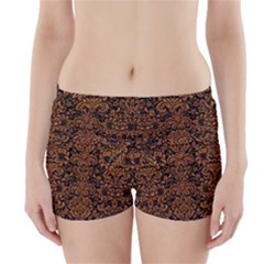 Damask2 Black Marble & Rusted Metal (r) Boyleg Bikini Wrap Bottoms