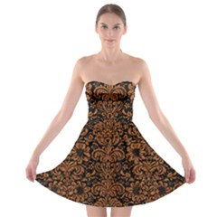 Damask2 Black Marble & Rusted Metal (r) Strapless Bra Top Dress