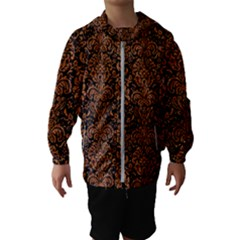 Damask2 Black Marble & Rusted Metal (r) Hooded Wind Breaker (kids)