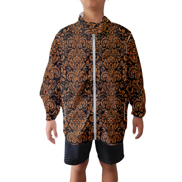 DAMASK2 BLACK MARBLE & RUSTED METAL (R) Wind Breaker (Kids)