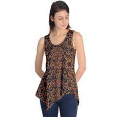 Damask2 Black Marble & Rusted Metal (r) Sleeveless Tunic