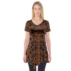 Damask2 Black Marble & Rusted Metal (r) Short Sleeve Tunic