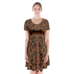 Damask2 Black Marble & Rusted Metal (r) Short Sleeve V Neck Flare Dress