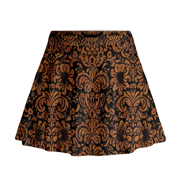DAMASK2 BLACK MARBLE & RUSTED METAL (R) Mini Flare Skirt