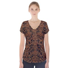 Damask2 Black Marble & Rusted Metal (r) Short Sleeve Front Detail Top