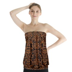 Damask2 Black Marble & Rusted Metal (r) Strapless Top