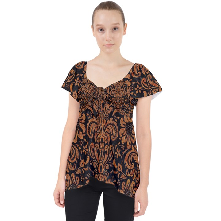 DAMASK2 BLACK MARBLE & RUSTED METAL (R) Lace Front Dolly Top