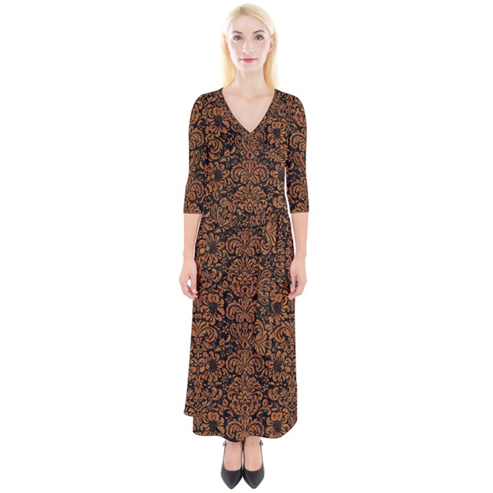 DAMASK2 BLACK MARBLE & RUSTED METAL (R) Quarter Sleeve Wrap Maxi Dress