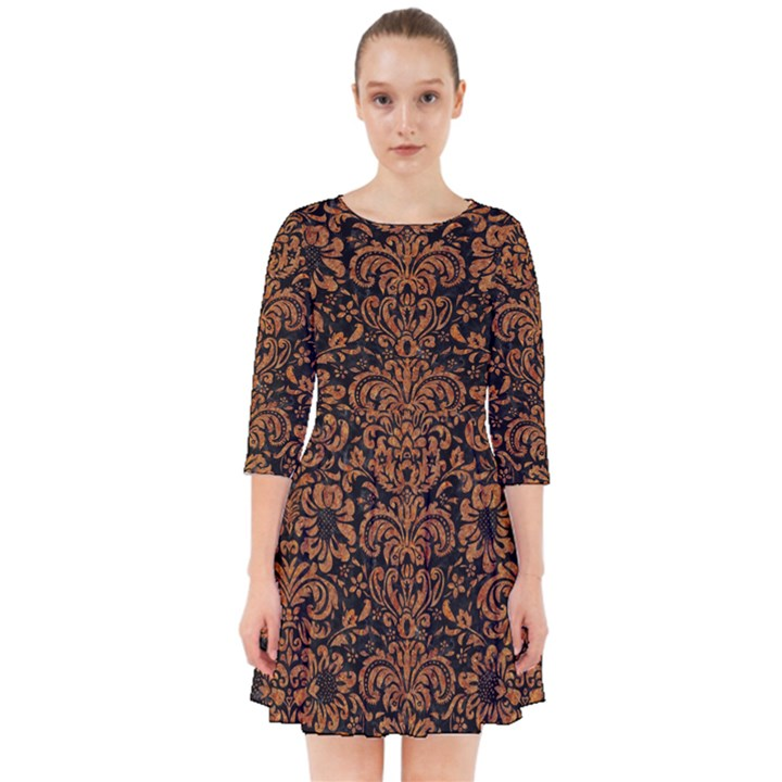DAMASK2 BLACK MARBLE & RUSTED METAL (R) Smock Dress