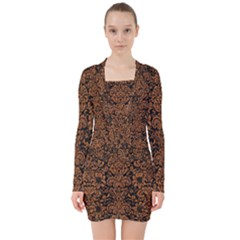 Damask2 Black Marble & Rusted Metal (r) V Neck Bodycon Long Sleeve Dress