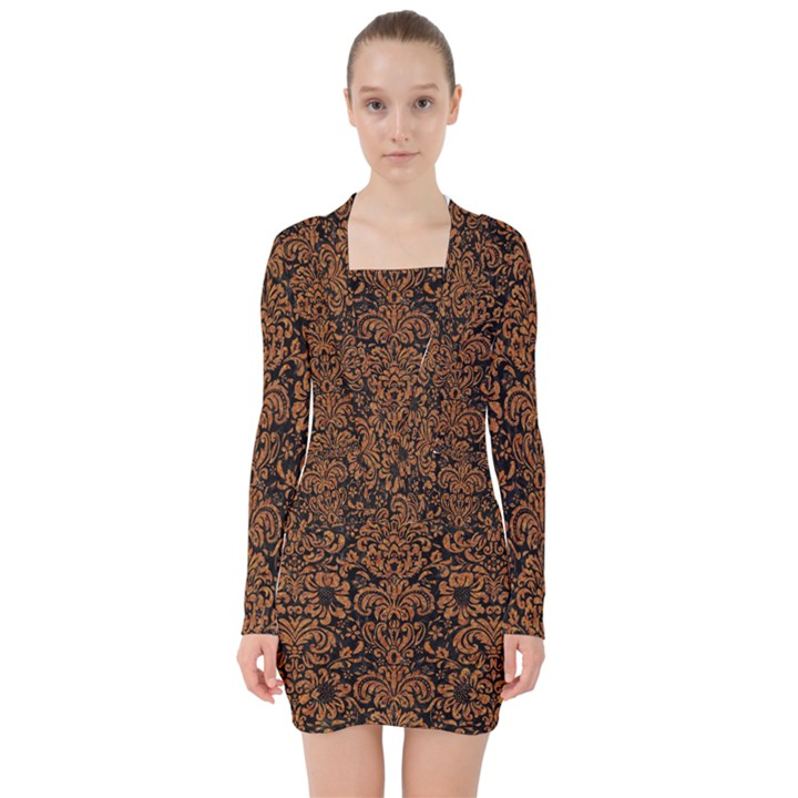 DAMASK2 BLACK MARBLE & RUSTED METAL (R) V-neck Bodycon Long Sleeve Dress