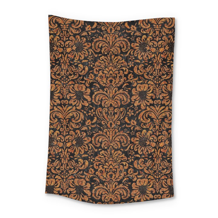 DAMASK2 BLACK MARBLE & RUSTED METAL (R) Small Tapestry