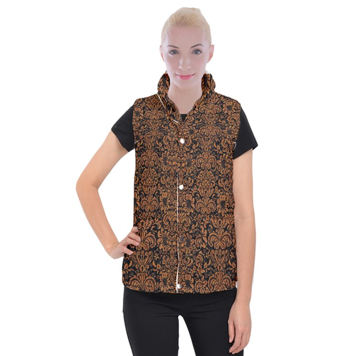 DAMASK2 BLACK MARBLE & RUSTED METAL (R) Women s Button Up Puffer Vest