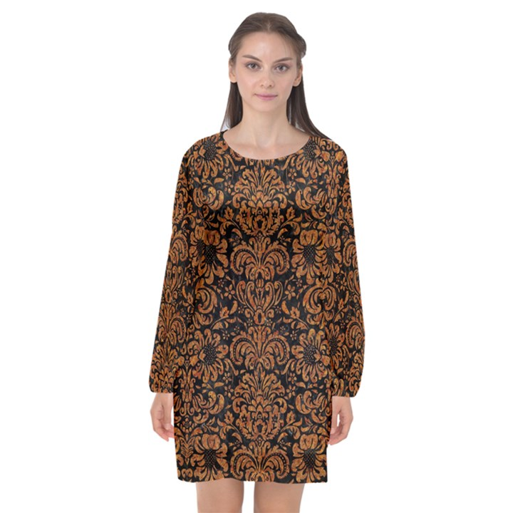 DAMASK2 BLACK MARBLE & RUSTED METAL (R) Long Sleeve Chiffon Shift Dress