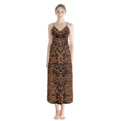 Damask2 Black Marble & Rusted Metal (r) Button Up Chiffon Maxi Dress