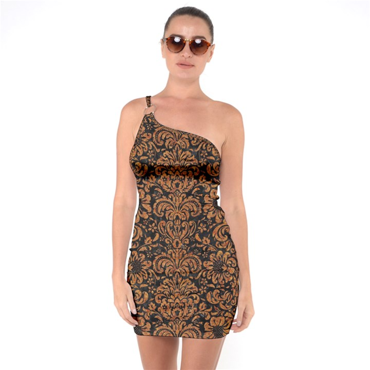 DAMASK2 BLACK MARBLE & RUSTED METAL (R) One Soulder Bodycon Dress