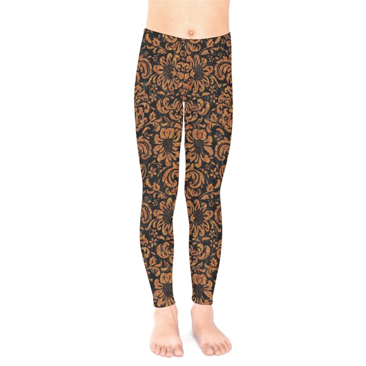 DAMASK2 BLACK MARBLE & RUSTED METAL (R) Kids  Legging