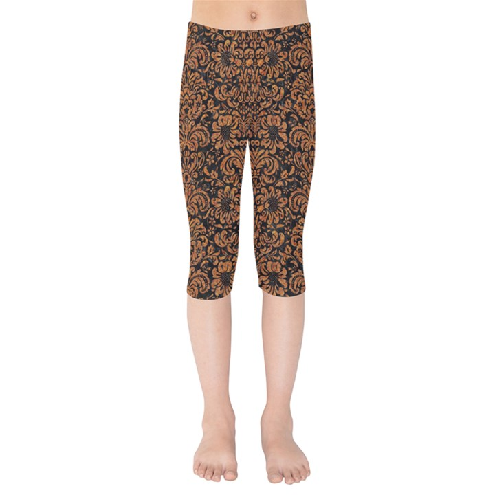 DAMASK2 BLACK MARBLE & RUSTED METAL (R) Kids  Capri Leggings